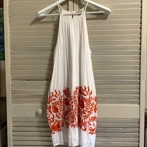 Lucky Brand White Sundress With Orange Detailing